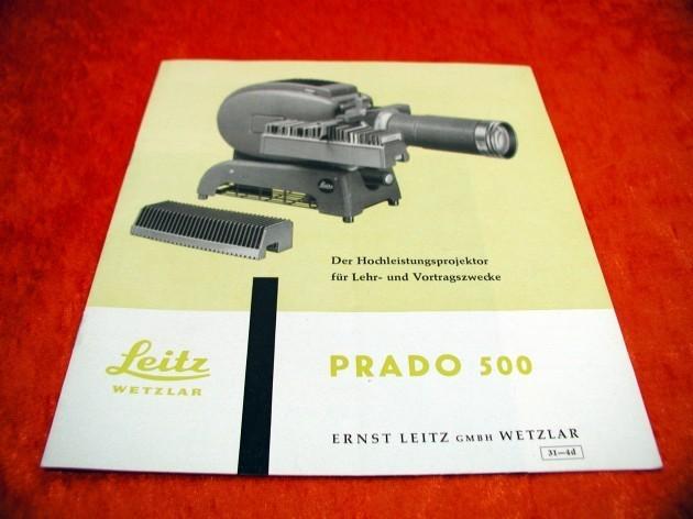 leitz wetzlar prado 500 sales brochure 1958 at shop kusera. Black Bedroom Furniture Sets. Home Design Ideas