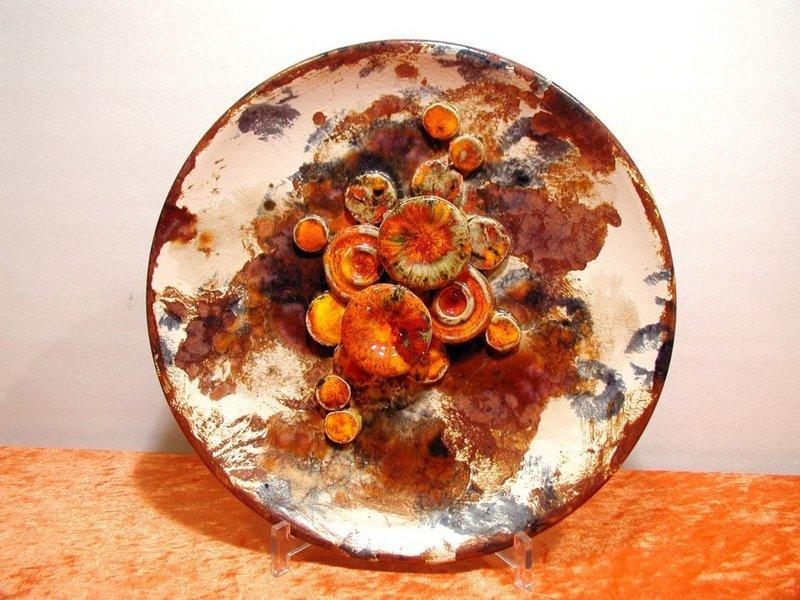 Wandteller keramik panton ra orange signiert bei kusera for Dekoration 70iger jahre
