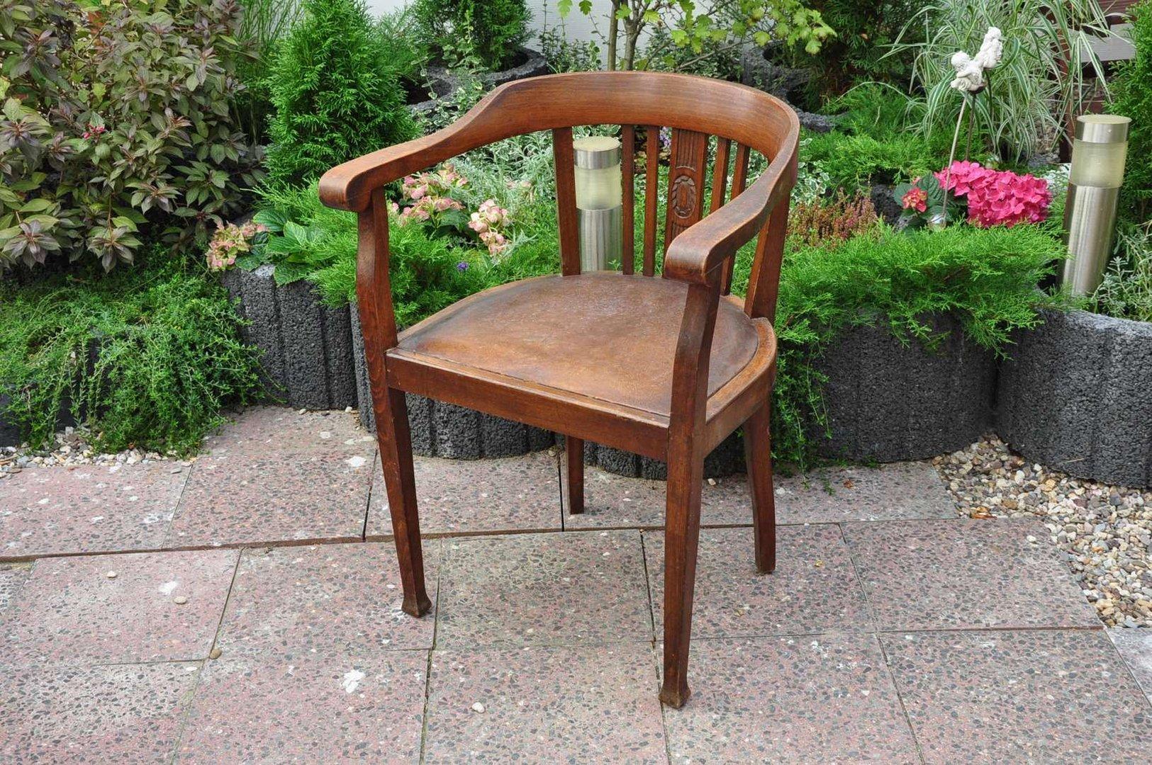 Art Deco Tisch Kaufen : Schreibtischstuhl Eiche dunkel Art Deco mit Schnitzerei - KuSeRa