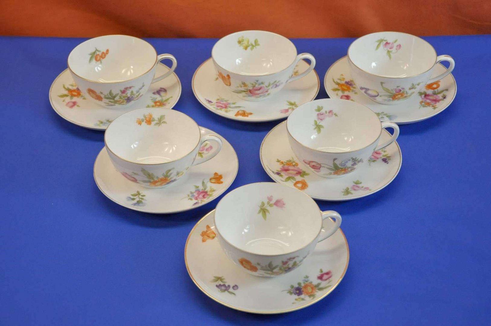 Rosenthal Balmoral Deutsche Blume 6 Tea Cups Set Kusera