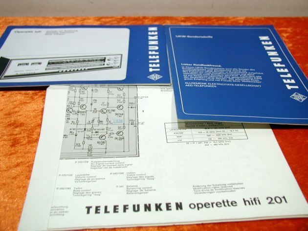 Telefunken Operette Stereo-Hifi 201 instruction manual and wiring diagram