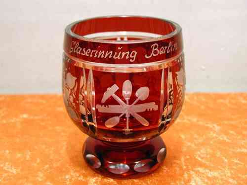 Hand Cut drinking cup Glaziers Berlin Guild of ruby red