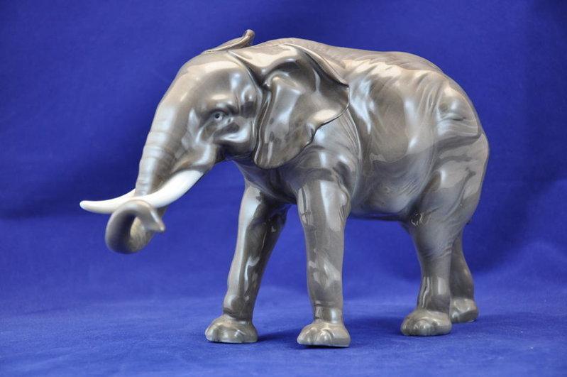 Karl Ens 30s Volkstedt porcelain figurine elephant - Shop KuSeRa