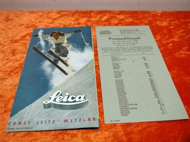 brochure leica 6 pages of 1951 price key for sale at kusera