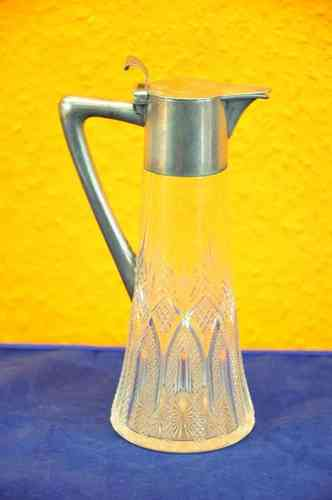 Carafe crystal with silver 800 art nouveau
