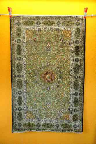 old Qum silk dimensions approx 123 x 0.77 m with traces