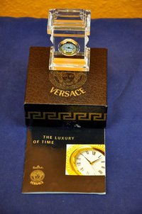 Rosenthal Versace miniature table clock crystal glass