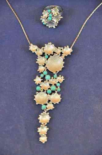 1970 designer jewelery necklace ring 925 with Turquoise