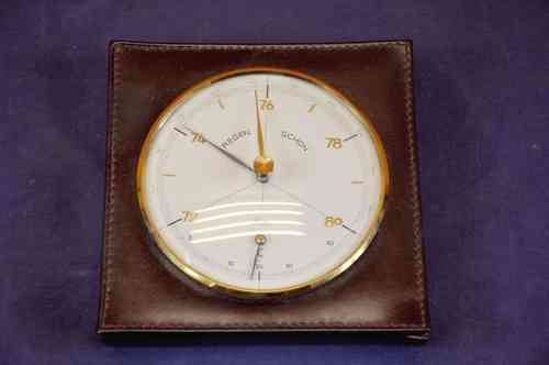 Barometer with thermometer by Scholz leather/brass 1970