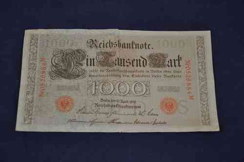 Reichsbanknote 1000 marks the Berlin April 21, 1910