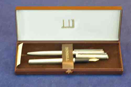 old silver plated Dunhill writing set grain guilloche