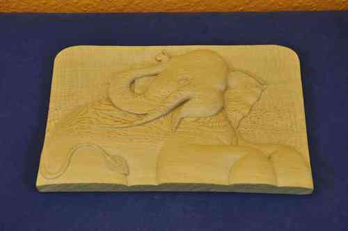 Ceylon wood carved elephant mural