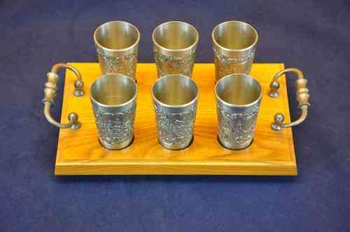 6 Tin cups on wooden tray Erfurt view