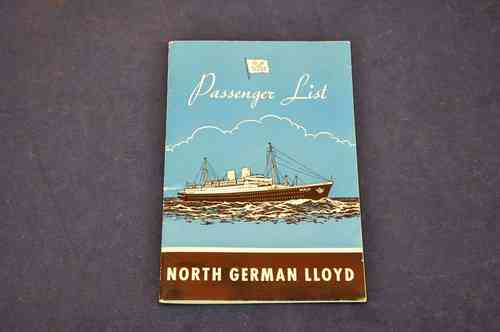 Passenger List North German Lloyd 1957 Motoliner Berlin