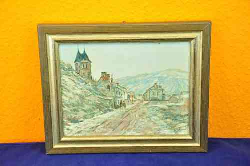 Oil painting - Village Scene - mountains towers + Frame