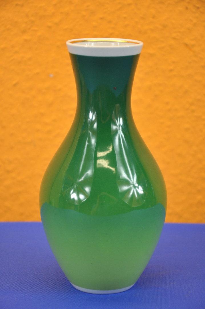 Schaubach Art Porcelain Vase Gold Relief In Green Kusera