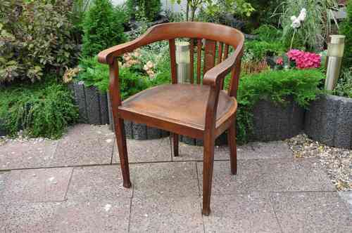 Desk Chair Dark Oak Art Deco with carving