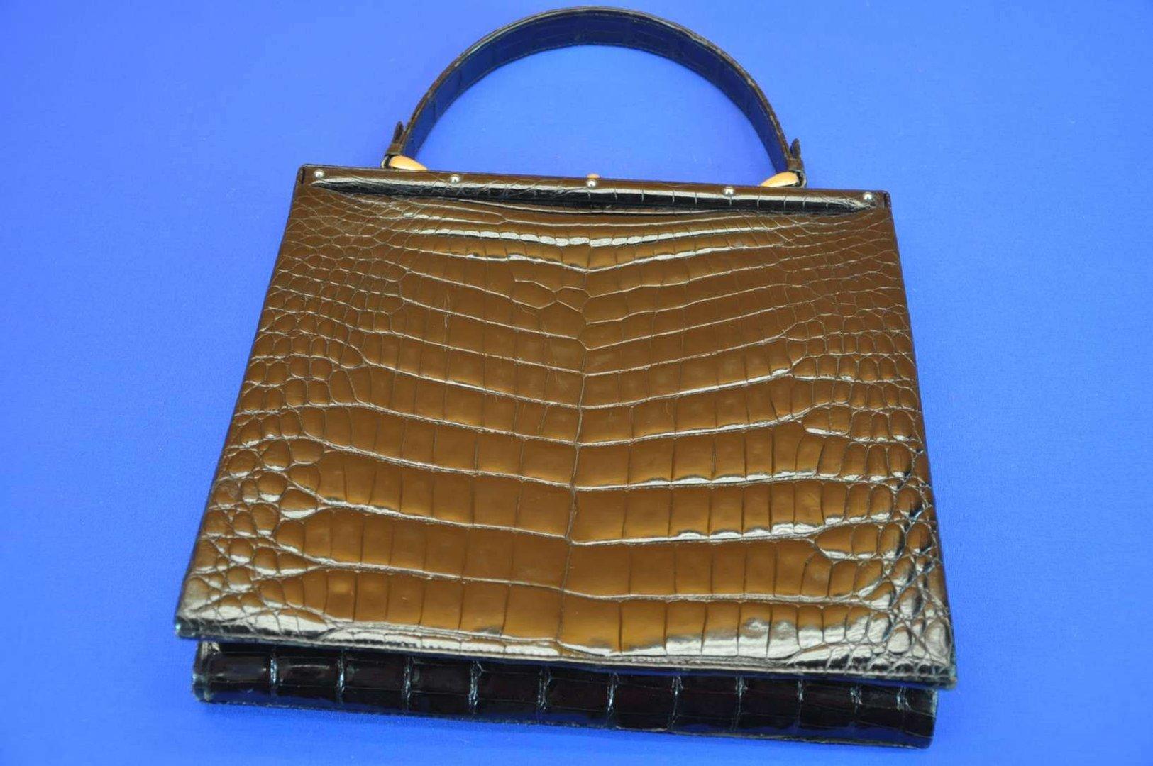 3e0b5e85c24c2 Comtesse Vintage Handtasche Leder Kroko in Schwarz 60er - KuSeRa