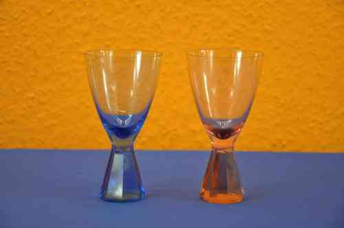 Friedrich crystal glass for wine 1 blue 1 pink 50s