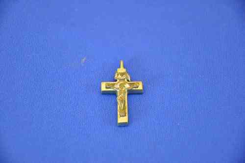 old crucifix pendant in bronze silvered wood core