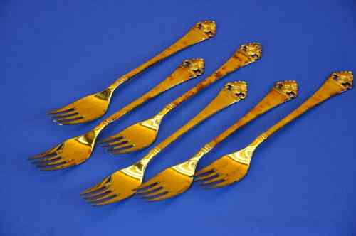 Robbe & Berking Roses pattern 6 Menu forks gold plated
