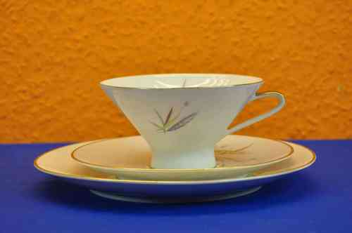 Tea cup set 3 parts Hutschenreuther Selb 50s porcelain