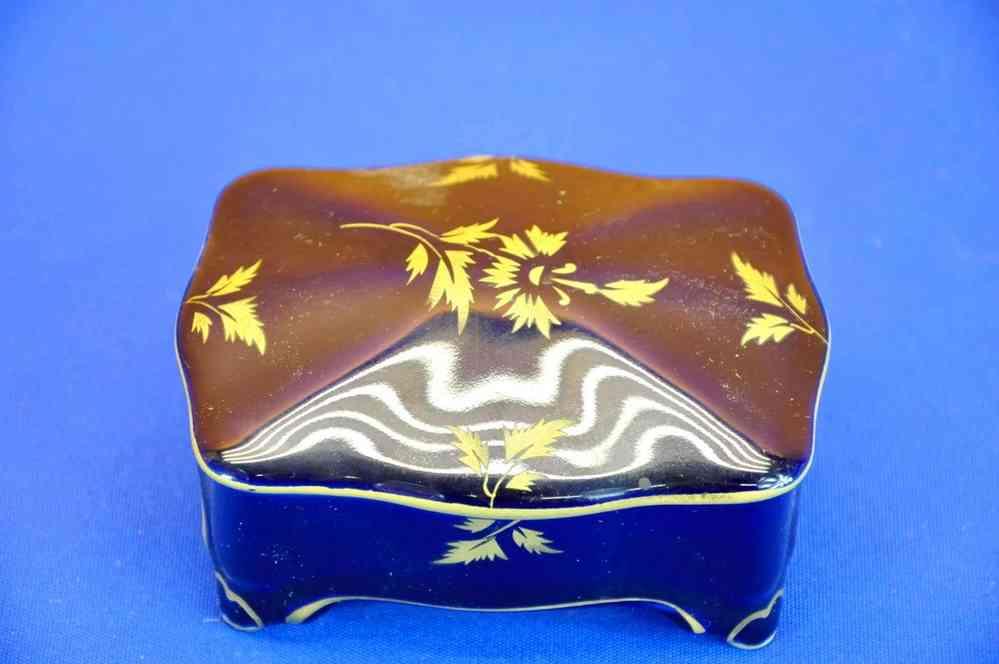 1920-1949, Art Déco Altes Art Deco Mokkaservice Graf Von Henneberg Kobalt Gold Porzellan 6 Personen Porzellan & Keramik
