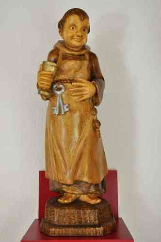 Wood Sculpture The cellar master monk handmade at 1980