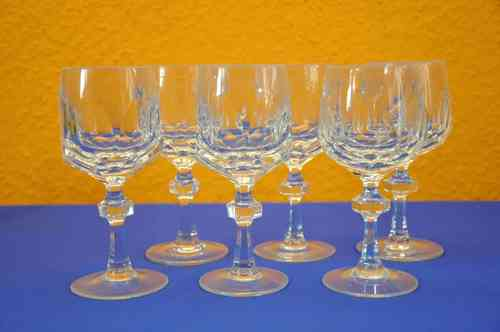 Nachtmann Alexandra 6 white wine glasses 70s