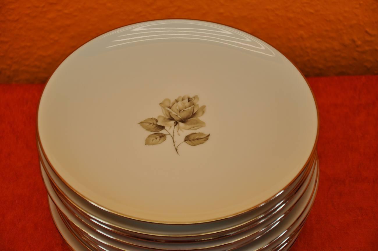 hutschenreuther olivia 68 graue rose 10 dessertteller kusera. Black Bedroom Furniture Sets. Home Design Ideas