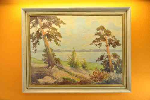 Oil painting scenery Havel signed Hans Skrodzki 72x91cm