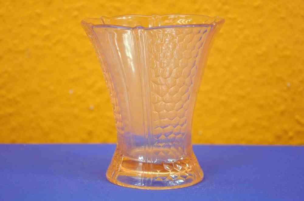 Rosalinglass Pressed Glass Vase Rare Art Deco Style 1930 Kusera