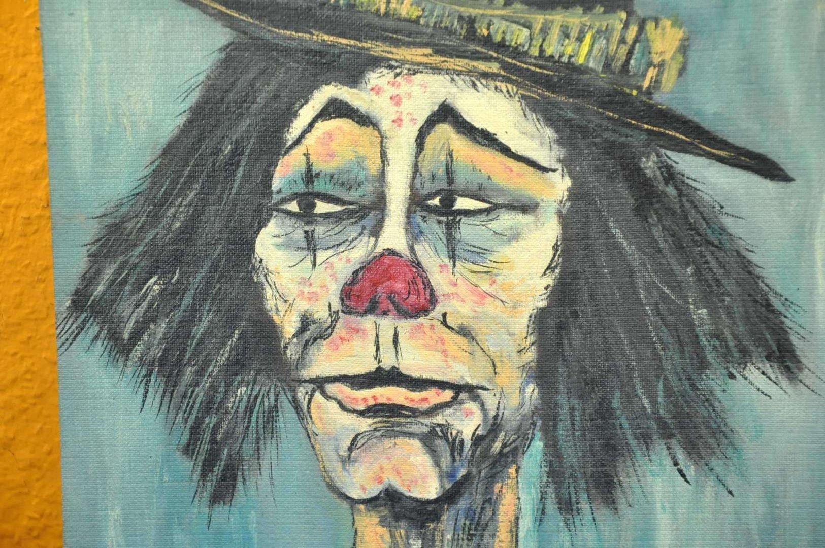 Acryl Auf Hartfaser Clown Mit Zylinder Und Blume Sign 65 Kusera