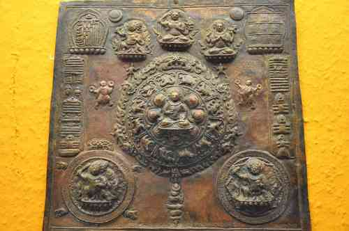 Old calendar Tibet around 1900 copper handwork