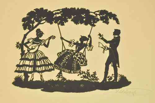 Paper cut romantic scene on swing set around 1900