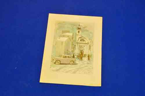 Fiat 600 Christmas card 1950s Sicbaldi graphic