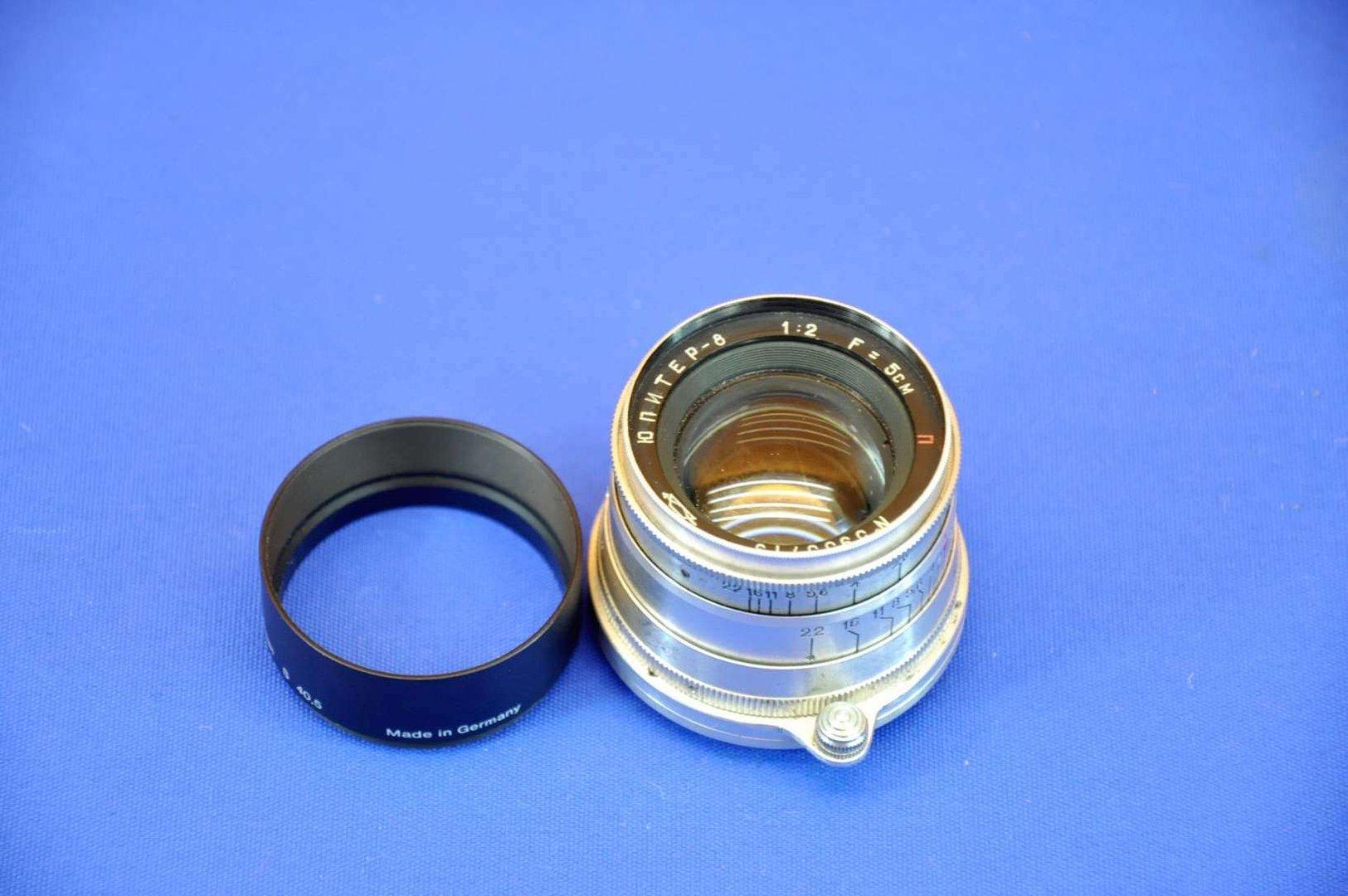 KMZ Jupiter-8 1: 2 5cm lens M39 + lens hood