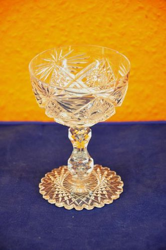 Art Nouveau Cut Crystal Cup glass complex grinding