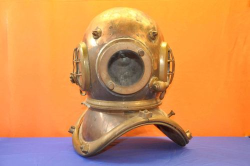 antiker Taucherhelm Kupfer/Messing mit Telefon 1890