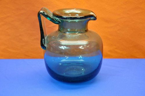 Crystal jug water pitcher Murano ocean blue around 1970
