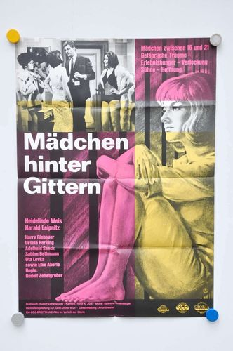 Mid-Centuy german movie poster girls behind bars