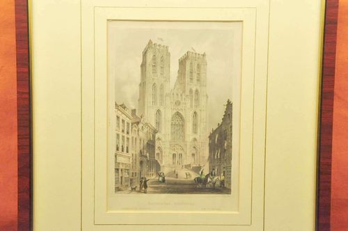 Color etching Cathedral St.Michael Brussels 1850