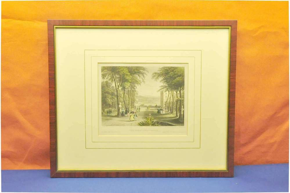 Color etching The Park in Brussels H.Bond + frame 1850 - KuSeRa