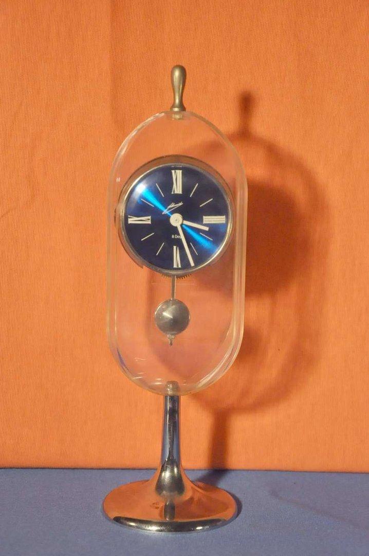 Design Desk Clock Pendulum Acrylic Glass Housing 1960