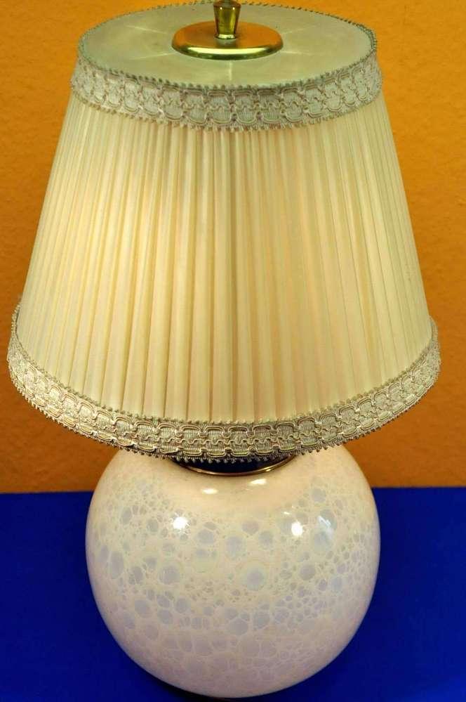 Tischlampe Glaskugel Irisierend 2x Licht Mit Schirm