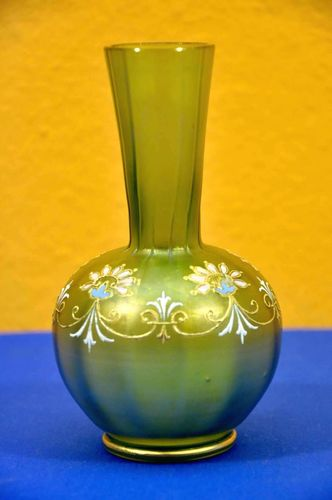 Glass vase green satin enamel festoon garland 1870