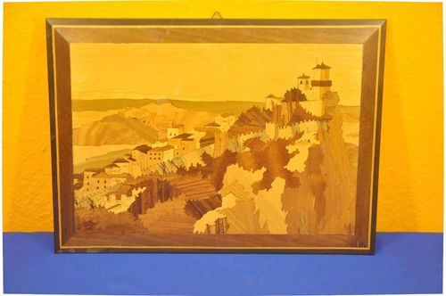 Inlaid wood picture of Monte Titano San Marino Italy