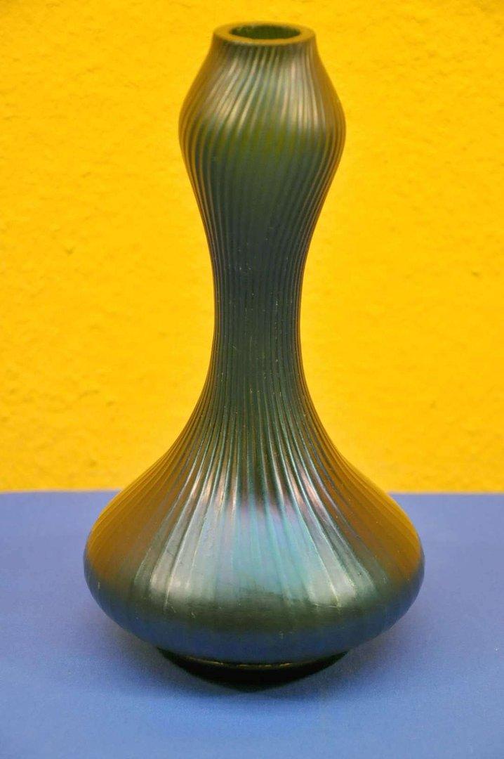 Loetz Art Nouveau Vase Wave Decor Is Pulled Iridescent Kusera