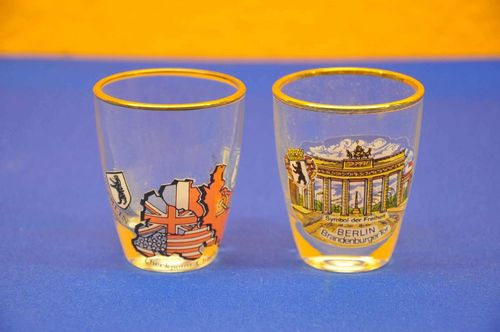 2 vintage DDR shot glasses Brandenburg Gate