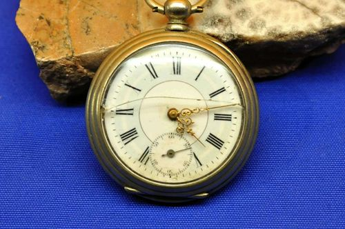 Key pocket watch brand G.F. 3 lids around 1870